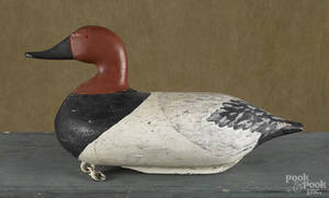 Oversized Susquehanna River carved and painted canvasback duck decoy mid 20th c