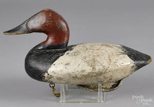 Susquehanna River carved and painted canvasback duck decoy mid 20th c