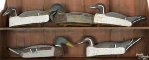 Five carved and painted duck decoys mid 20th c