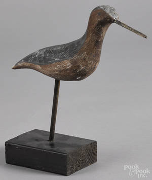 Carved and painted shorebird decoy mid 20th c