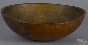 Large turned wooden dough bowl