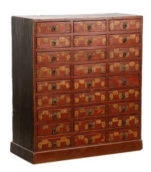 Chinese Red Lacquered Apothecary Cabinet