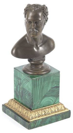 French patinated bronze bust of a gentleman