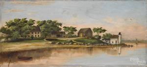 New England oil on canvas coastal scene