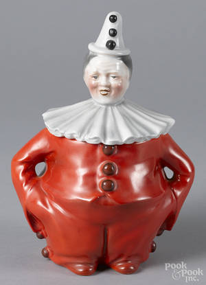 Royal Bayreuth porcelain red clown humidor with a blue mark on base