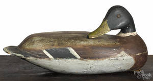 New Jersey carved and painted preening mallard duck decoy mid 20th c