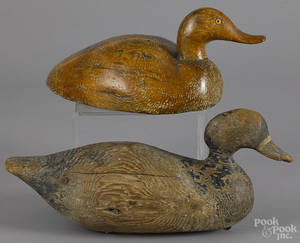Two carved and painted duck decoys earlymid 20th c