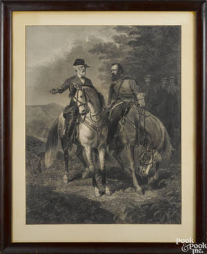 Lithograph of Robert E Lee and Stonewall Jackson on horseback