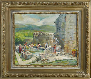 Oil on board scene of women washing clothes