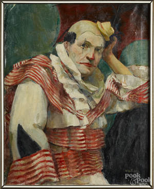 American oil on canvas portrait of a clown