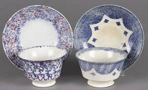 Blue spatter cup and saucer with a star