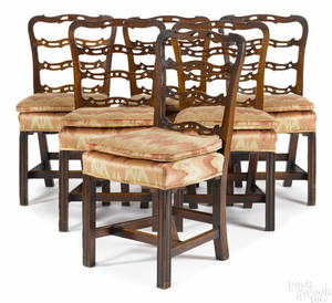 Set of six George III mahogany ribbonback dining chairs ca 1780