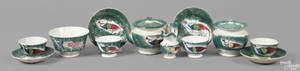 Teal miniature spatter tea service 19th c