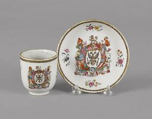 Chinese export porcelain cup and saucer 18th c