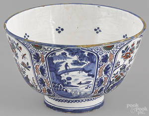English Delft earthenware polychrome punch bowl mid 18th c