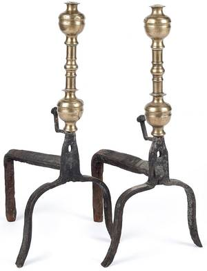 Pair of Continental brass and wrought iron andirons