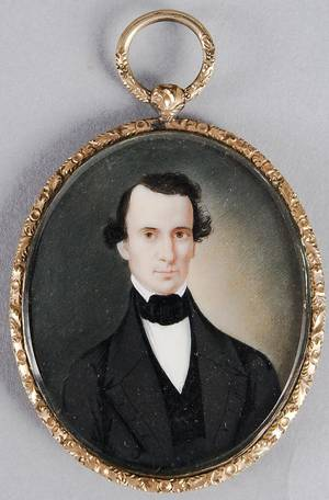 English watercolor on ivory miniature portrait of a gentleman