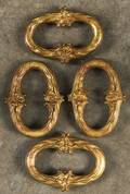 Set of four French gilt bronze bell pull weights