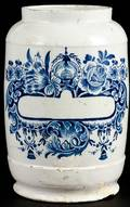 Delft blue and white apothecary jar