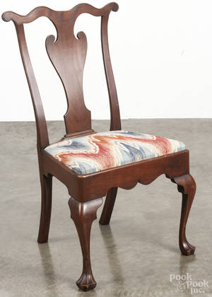 Bench made Queen Anne style walnut dining chair
