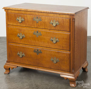 Pennsylvania Chippendale tiger maple chest of drawers