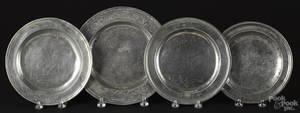 Three English pewter plates with wrigglework engraving