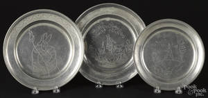 Three Continental pewter plates with wrigglework engraving