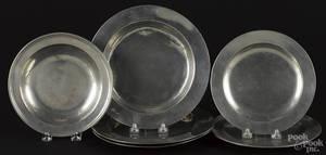 Three English pewter marriage plates