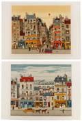 Pair Pencil Signed Lithographs Michel Delacroix