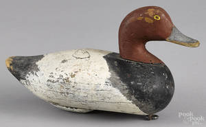 Upper Chesapeake Bay carved and painted redhead duck decoy early 20th c