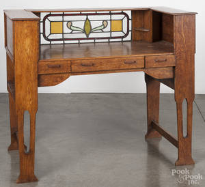 Oak arts and crafts writing desk