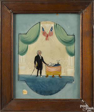 Reverse painting on glass of George Washington late 19th c