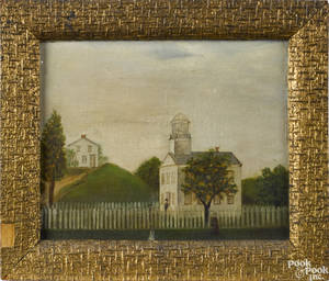Primitive oil on board street scene 19th c