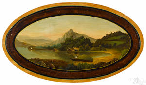 Oval oil on panel river landscape late 19th c