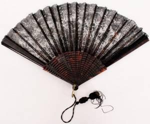 Large Ladies Black Lace  Faux Tortoiseshell Fan