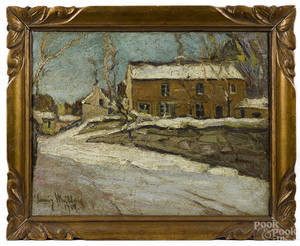 Continental oil on canvas winter landscape