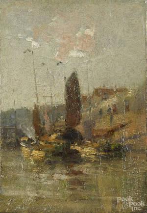 English oil on canvas impressionist harbor scene