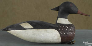 New Jersey carved and painted merganser duck decoy mid 20th c