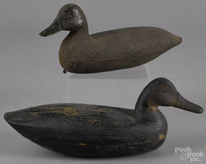 Two New Jersey carved and painted black duck decoy mid 20th c