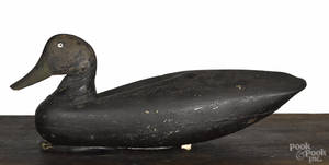 New Jersey carved and painted black duck decoy early 20th c