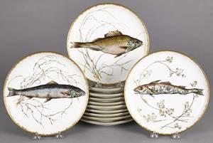 Set of twelve Haviland Limoges fish plates