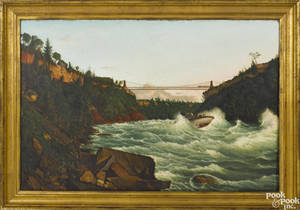 American oil on canvas river scene