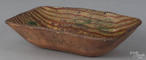 Pennsylvania or New Jersey redware loaf dish 19th c