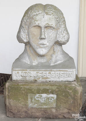 West Virginia carved stone bust of Thomas Jefferson dated