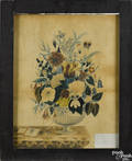 Massachusetts watercolor of a bowl of flowers