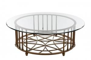 French Bronzed Iron 54 Glass Top Coffee Table