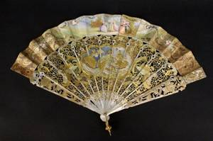Ornate Ladies Mother of Pearl Figural Fan