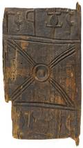 African Senufo tribe carved wooden granary door panel with geometric and animal designs