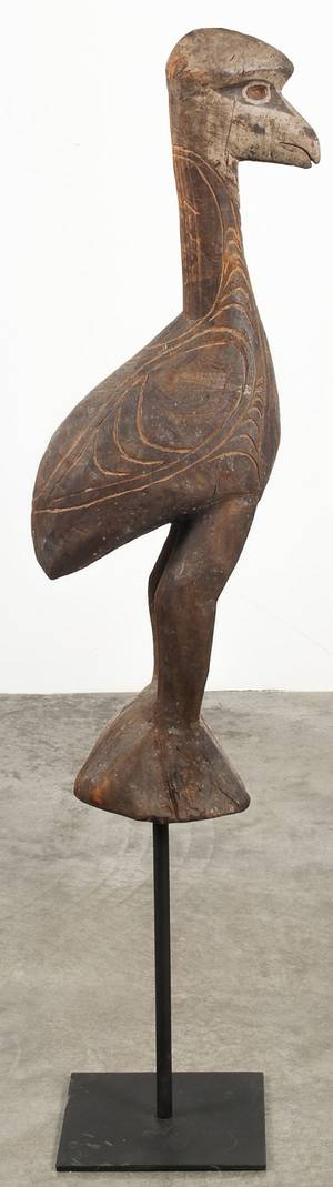 African carved and polychrome painted bird