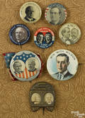 Group of political pins